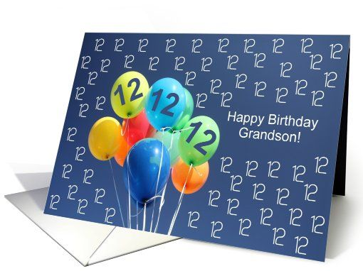 12th Birthday Card For Grandson Colored Balloons Happy