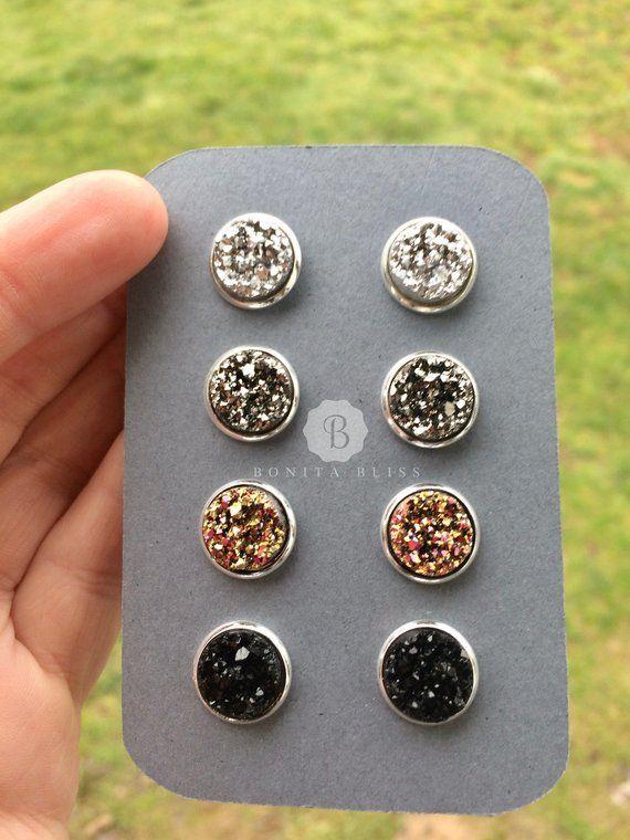 c4aee932ec6e Sale   - Druzy earring set - Four pairs of Druzy stud earrings