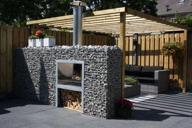 Gabion wall outdoor fireplace/bbq Tuinhaard met BBQ home
