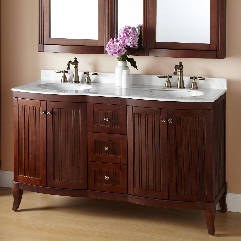 60 Palmetto Brown Cherry Double Vanity Double Sink Vanities