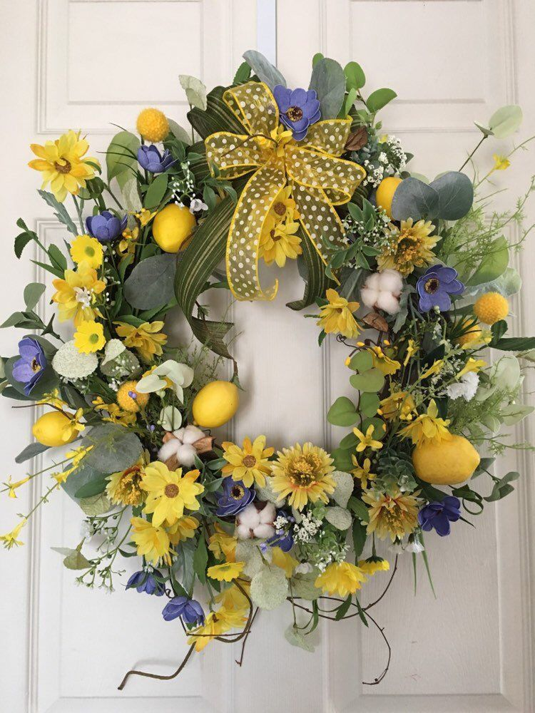 Photo of Fruit wreath for the front door, lemon flower vine wreath, purple and yellow spring wreath, lemon wreath for the kitchen.