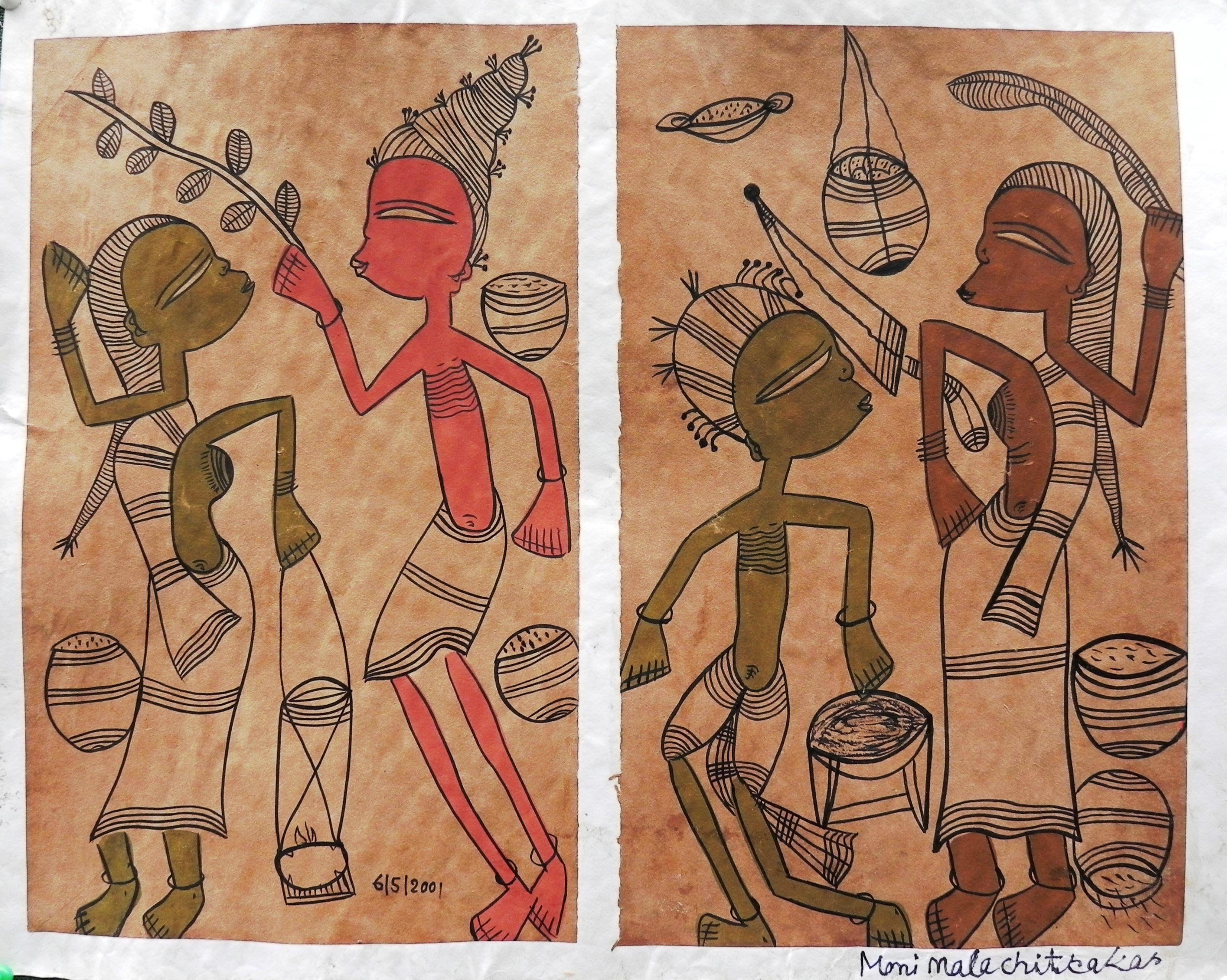 Artist name monimala chitrakar with images tribal art
