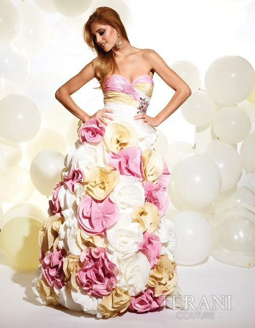 Pink Multi Colored Pleated Rosette Gown (23320-P708) van Terani - In a Rush? We now offer an Expedited Shipping option f...Price - $593.00-ZTw8MeCC