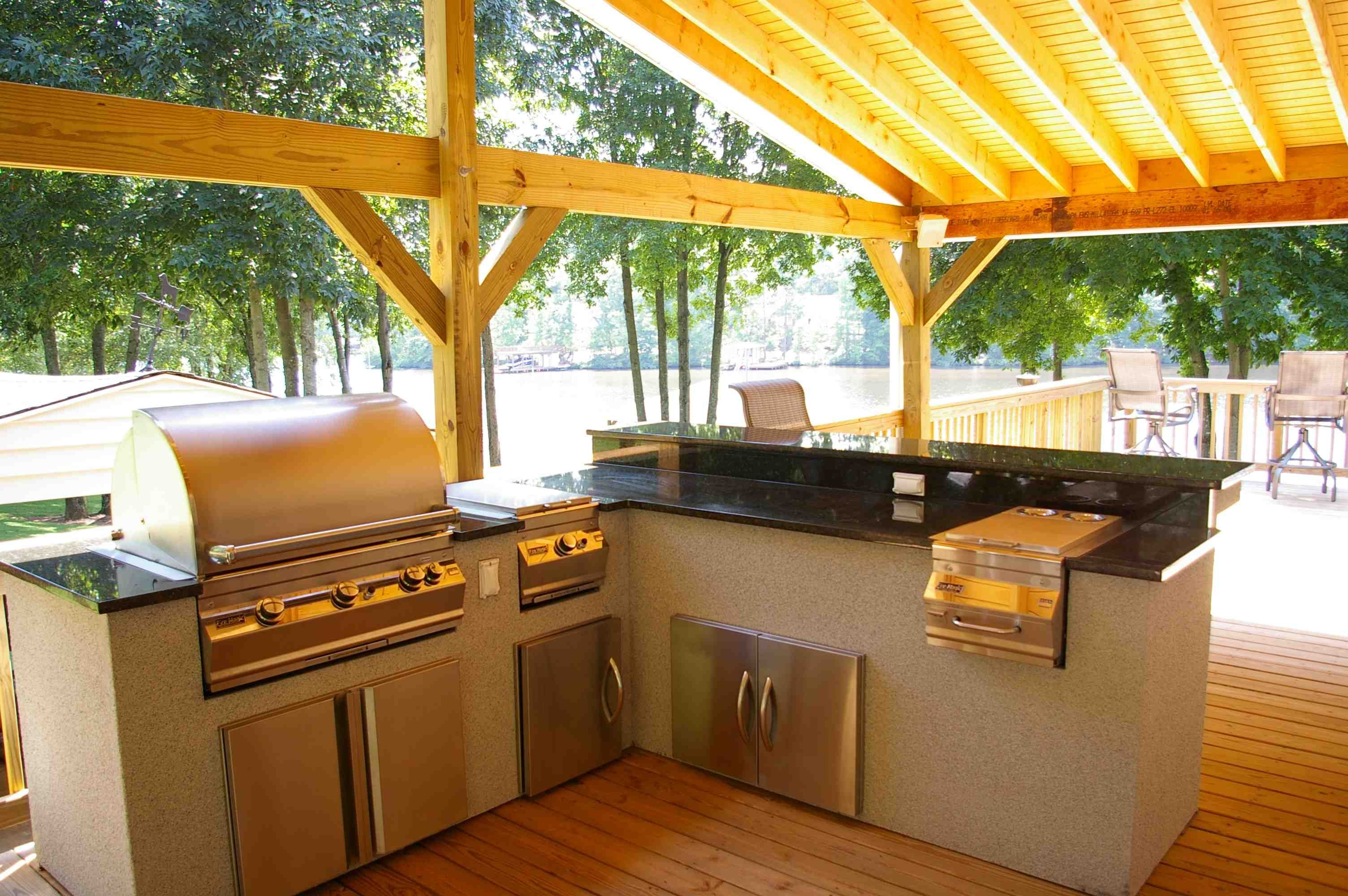 Wonderful Small Patio Pergola Roof Ideas With Bbq Grilling Island Gorgeous Patio Kitchen Designs 2018