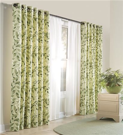 Curtains Ideas curtains double width : Leaves Grommet-Top Double-Width Curtains, 84%26quot;L | Sheers and ...