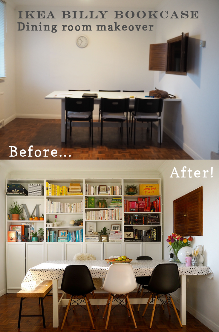 Interiors transformation - IKEA Billy bookcase dining room Oyster ...