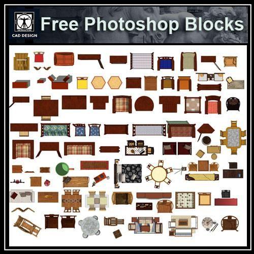 Free Photoshop PSD Chinese Furniture Blocks 1