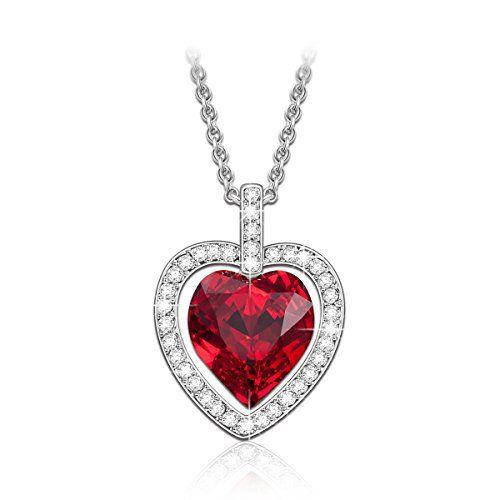 100a8c44132c Lady colour Tavarua Coeur Collier Femme cristaux de Swarovski rouge bijoux cadeau  anniversaire fete des meres idee cadeau noel cadeau saint…