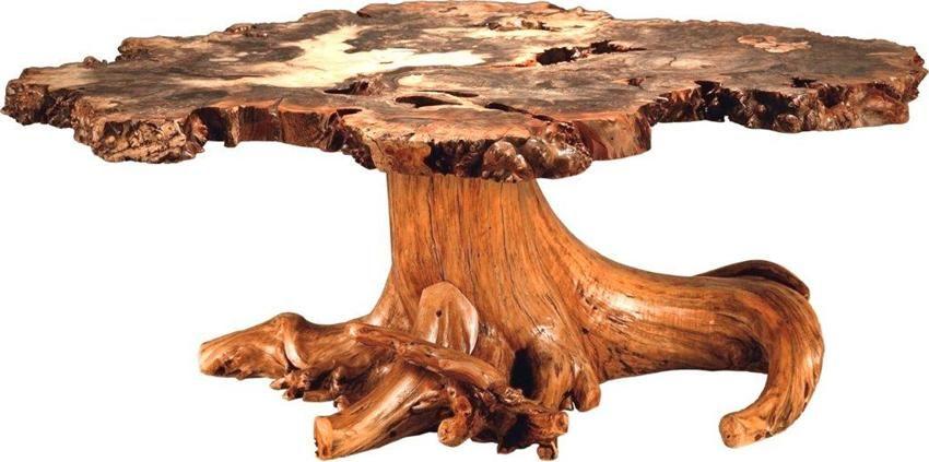 Amish rustic burl coffee table with stump base coffee
