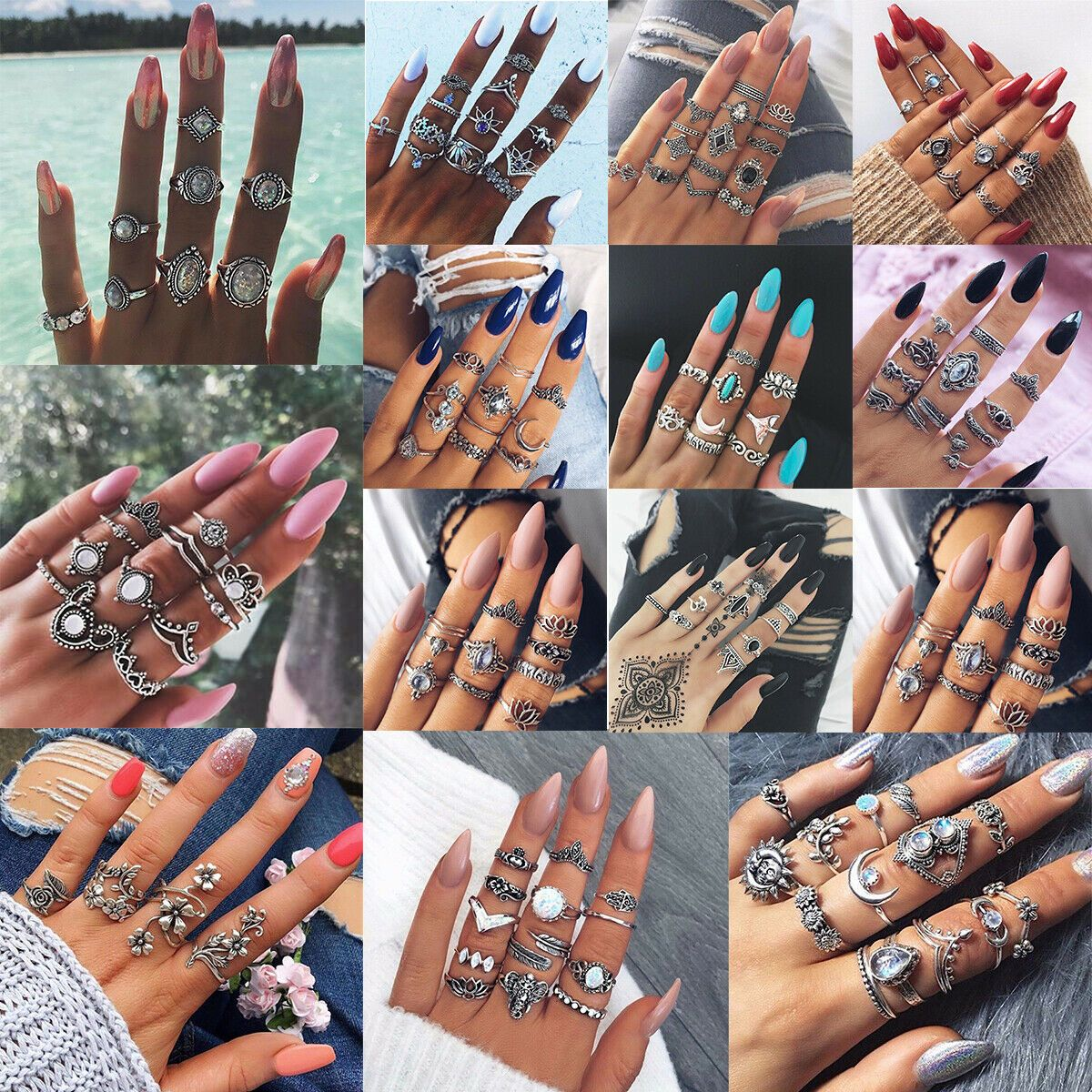 Charm Gold Silver Spring Finger Knuckle Rings Band Unsex Punk Boho Jewelry New