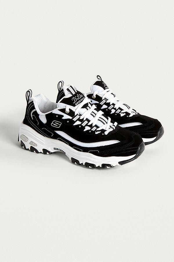 skechers black & white dlites trainers