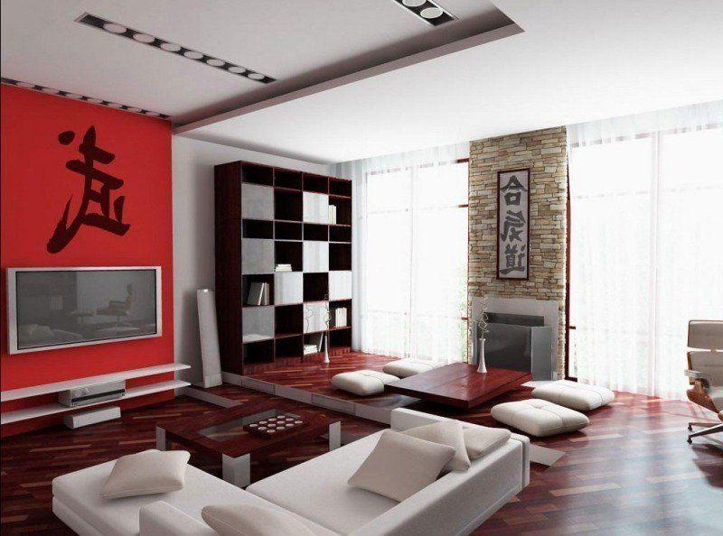 Idée déco salon ambiance zen en blanc, rouge et marron | Salon ...
