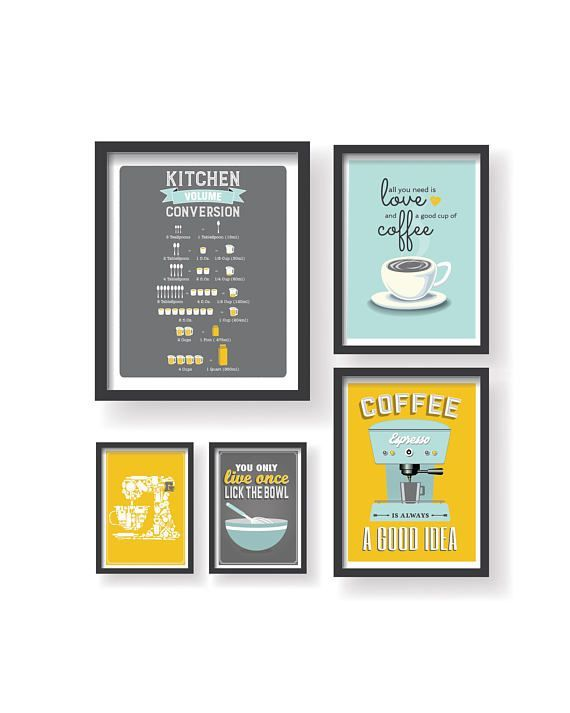 Mustard Yellow Kitchen Decor Yellow Gray Kitchen prints Kitchen wall art Kitchen art work Kitchen set of 5 prints Dining room wall decor images