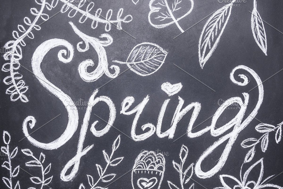 Photo of Word spring on chalkboard #Sponsored , #PAID, #spring#writing#Chalk#board