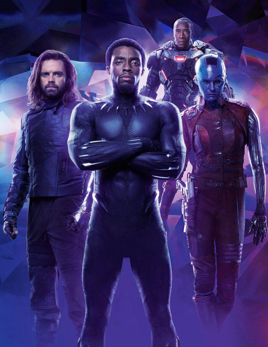Bucky T Challa Rhodey And Nebula Empire Magazine 2018 Avengers Infinity War Marvel Superheroes Marvel Avengers Marvel Films