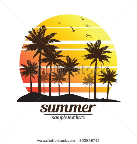 Tropical Palm Trees Island Silhouettes With Sunset Vector