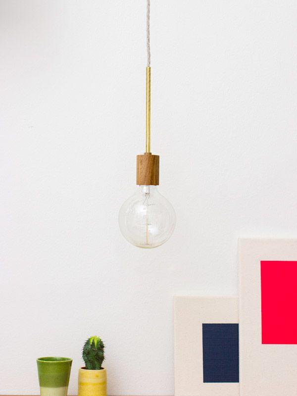 Industrielle Glühbirnen Hängelampe aus Holz und Metall