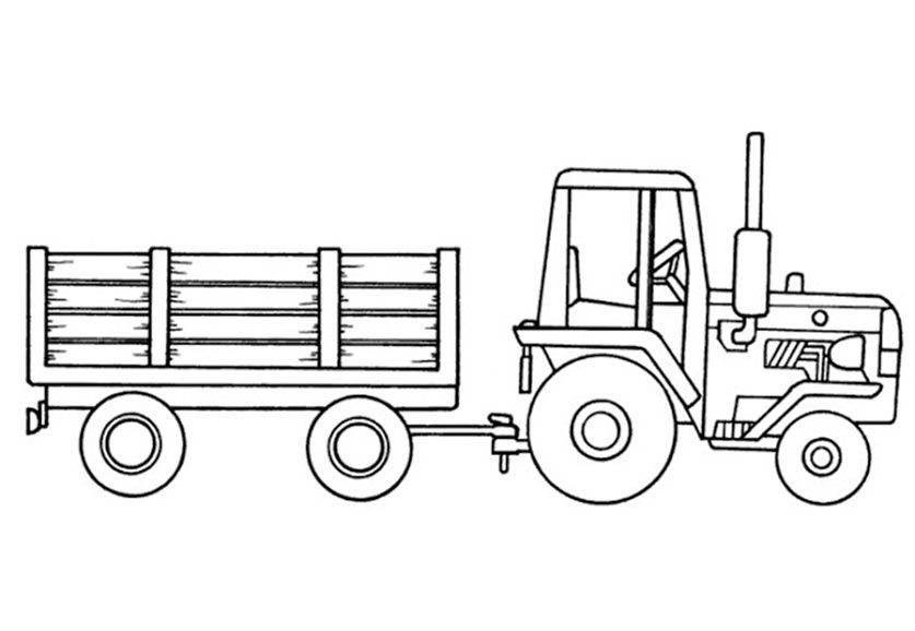 Traktor mit Anhänger Ausmalbild | Basteln | Pinterest | Traktoren ...