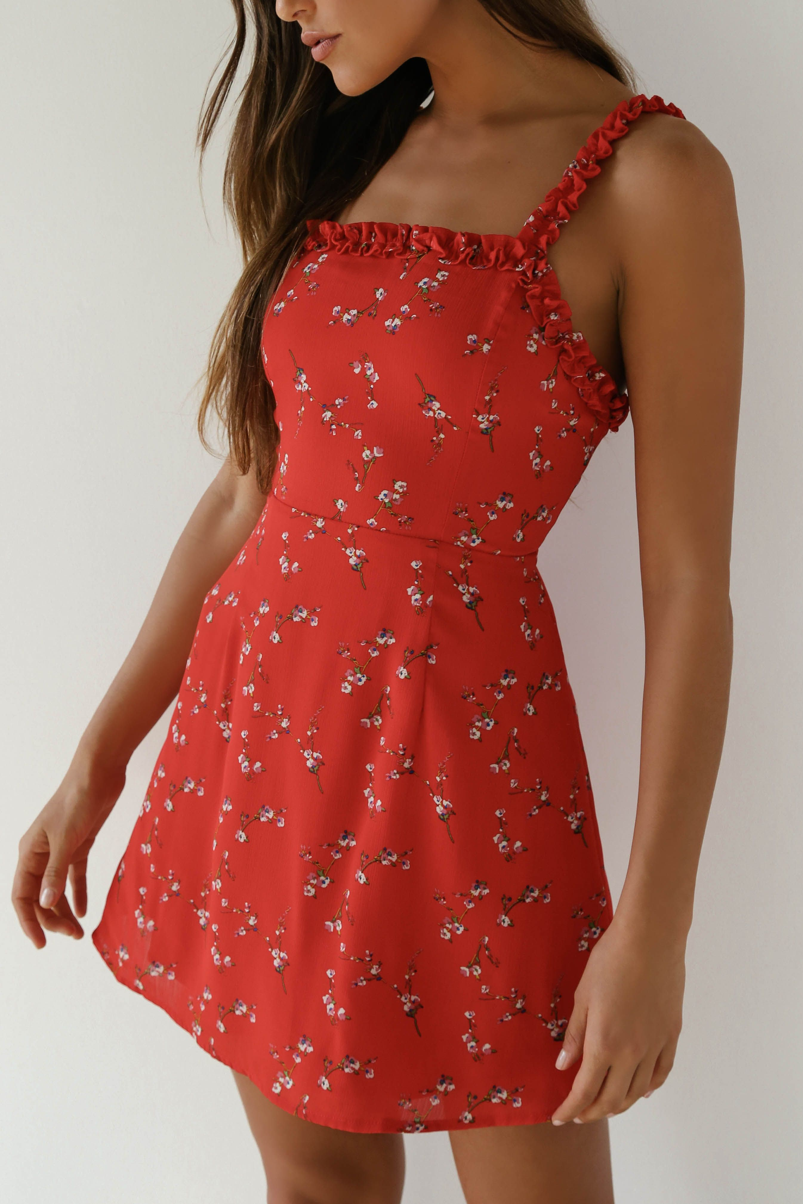 In The Garden Red Floral Print Skater Dress Sundress Outfit Casual Summer Dresses Fashion [ 4036 x 2691 Pixel ]