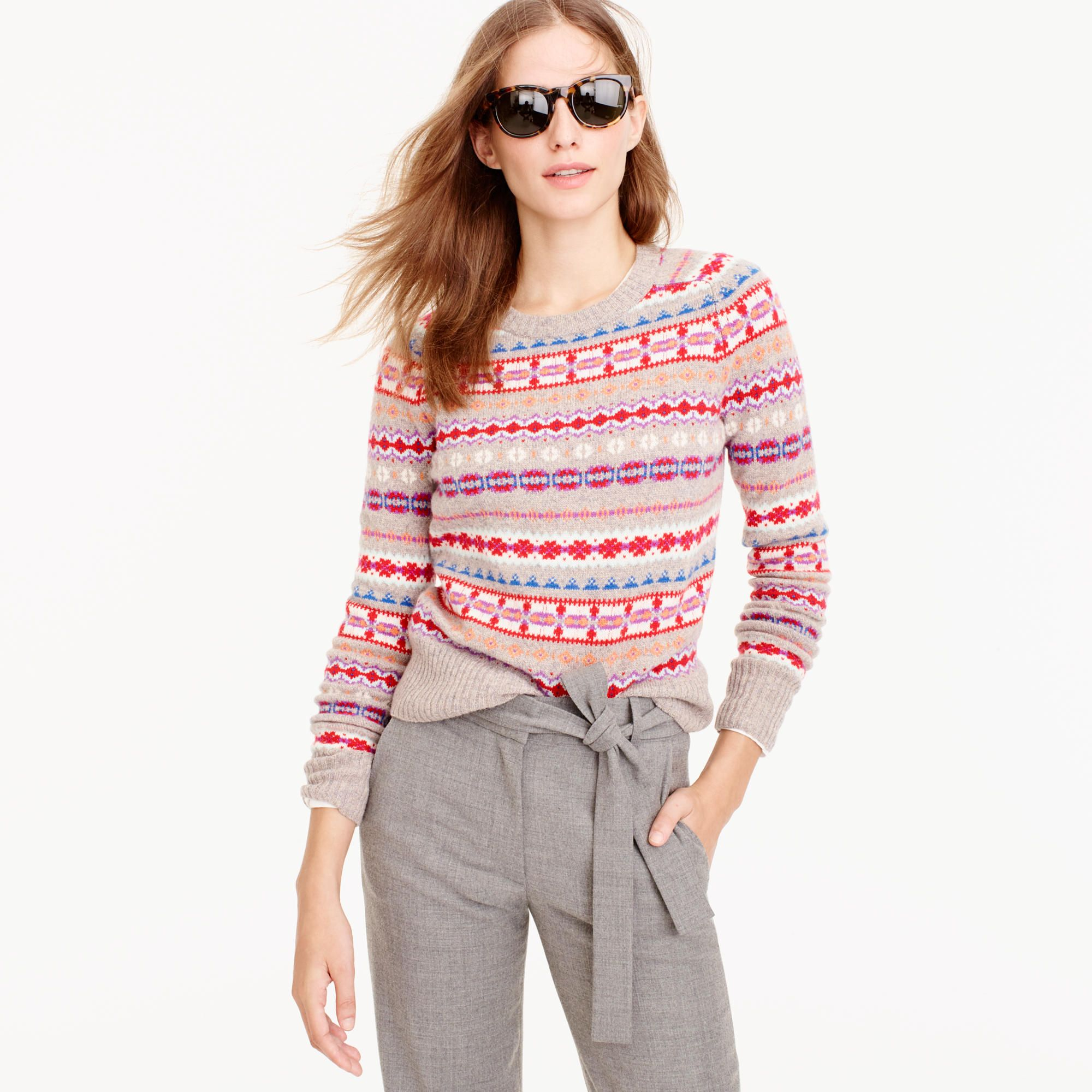 J. Crew Holly sweater in Fair Isle pebble mist | Clothing ...