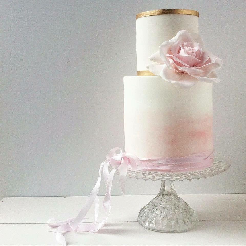 White Pastel Pink Wedding Cake WedWithTed TedBaker - Pastel Pink Wedding Cake