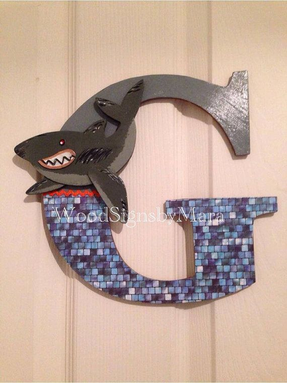 Shark Theme 9 Wood Letter Personalized By Woodsignsnmore On