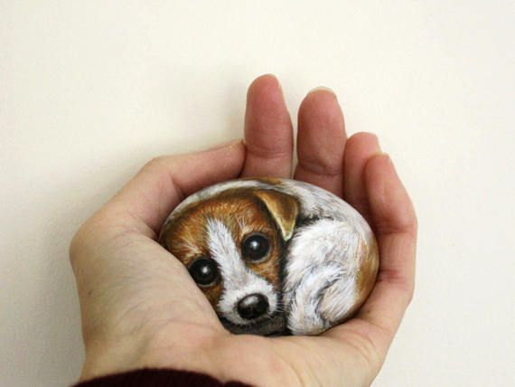 Custom Pet On A Stone Painted Animal Stone Commission Small