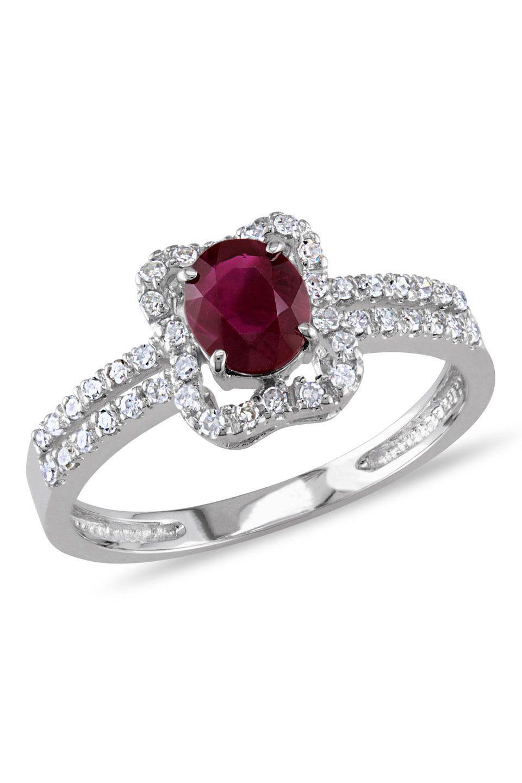 0.2ct Diamond, 0.75ct Ruby 14k White Gold Ring - Beyond the Rack