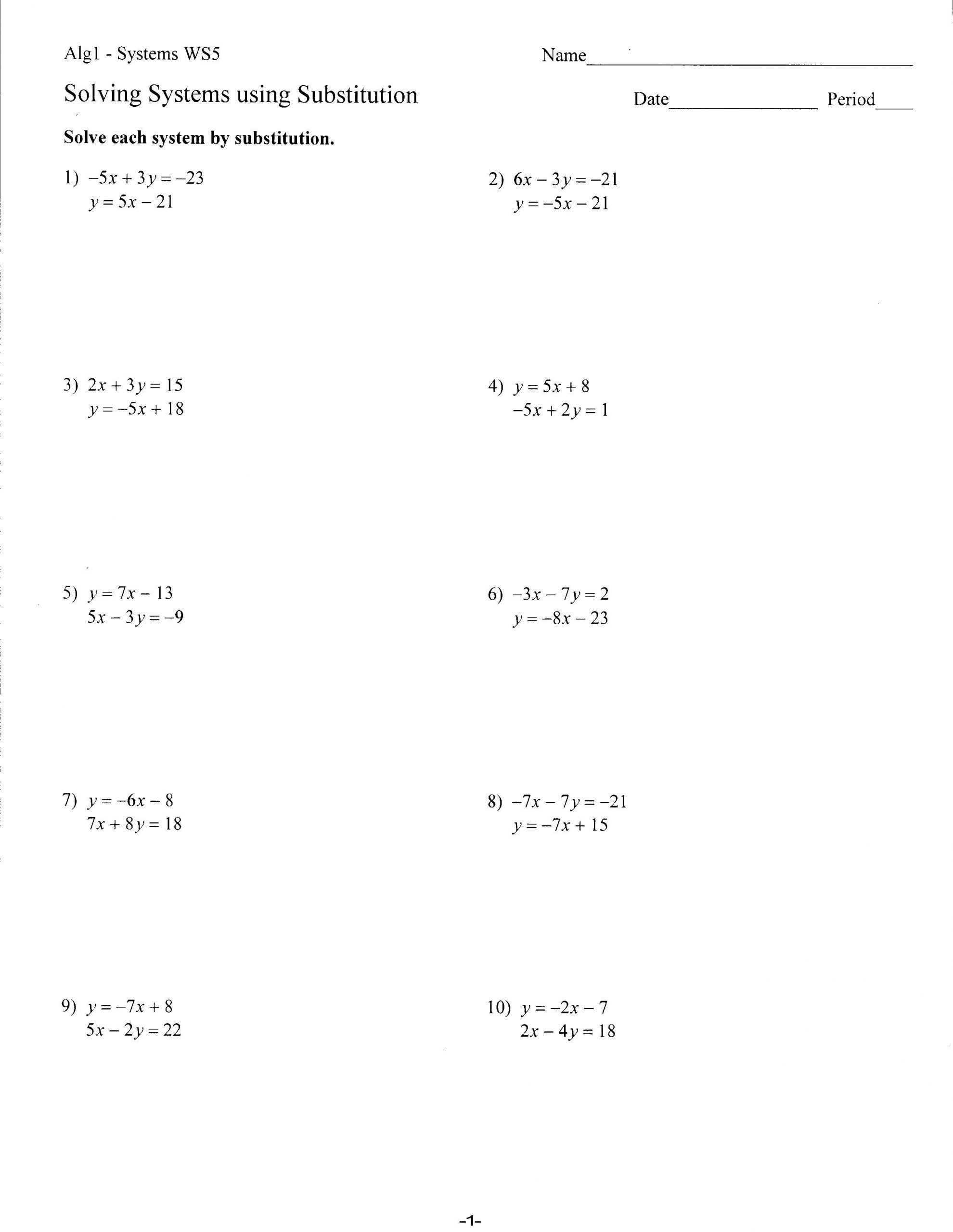 Algebra 2 Worksheets Worksheet Solving Systems