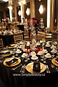Black And White Gold Red Party Room Round Tables Google Search