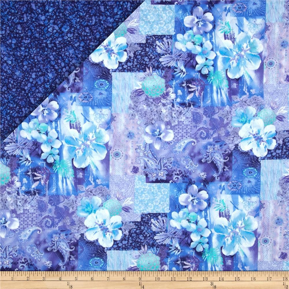 Lagoon Double Faced Quilted Floral Paisley Blue/Aqua from ... : double faced quilt fabric - Adamdwight.com