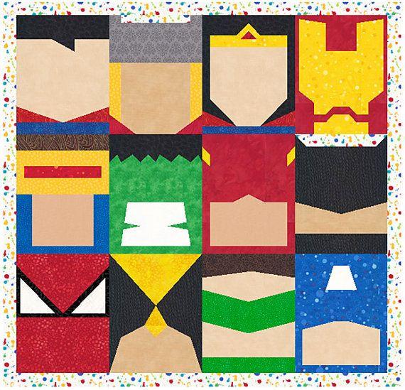 Super Heroes - 12 Quilt Block Patterns - Superman Batman Thor ... : 12 quilt block patterns - Adamdwight.com