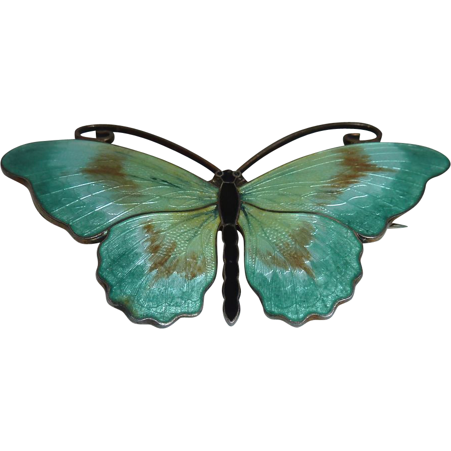 O.F. Hjortdahl A most beautiful mid century Norwegian enamel butterfly brooch handcrafted in sterling with a gold vermeil finish.The pale aqua enamel transitions to  $350