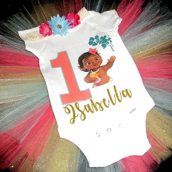 Baby Moana Princess Blue Girl 1st First Birthday Tutu Outfit Shirt Set sq