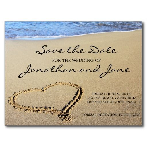 Beach Ocean Wedding Save The Date Postcards A Beautiful And Stylish Heart In Sand Card Featuring One Of Most Por