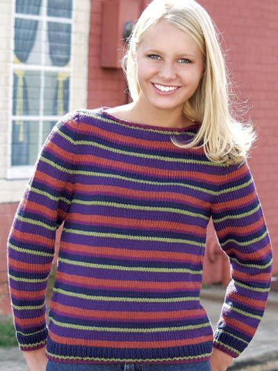 24c3c5f7c124de Knit Clothing - Long-Sleeved Sweater Knitting Patterns - Striped Boat Neck  Pullover - Free Sweater Knitting Pattern