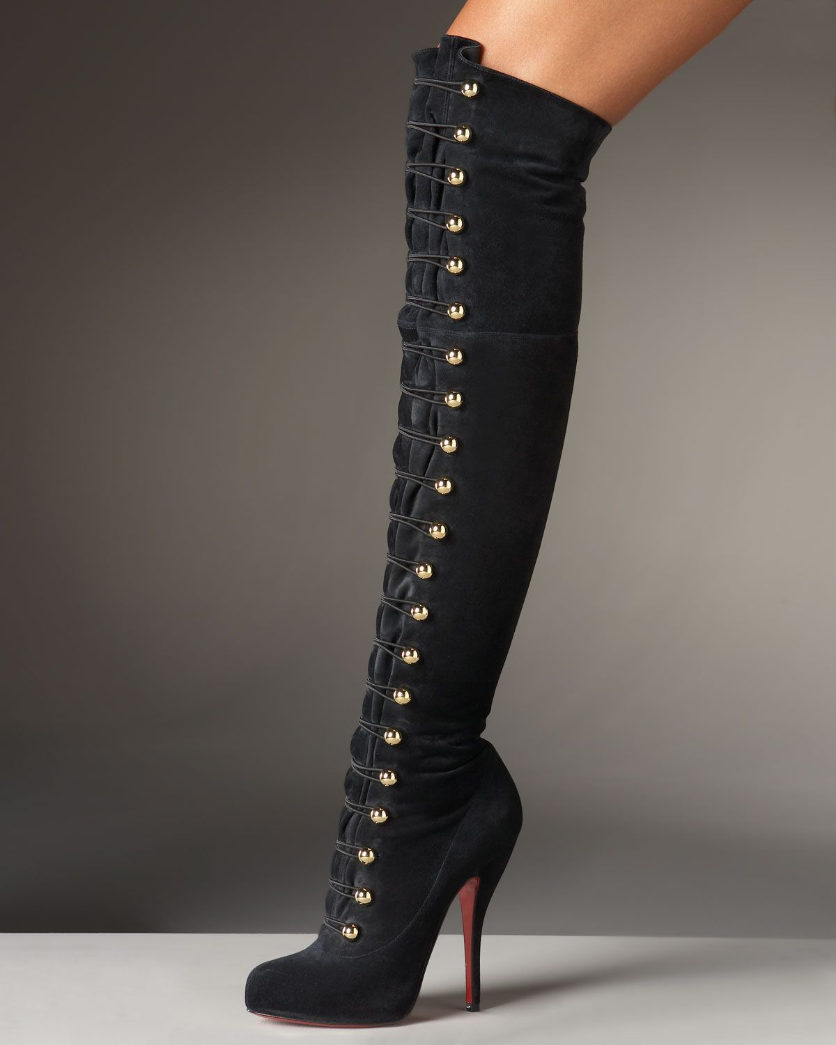 christian louboutin over the knee lace up boots