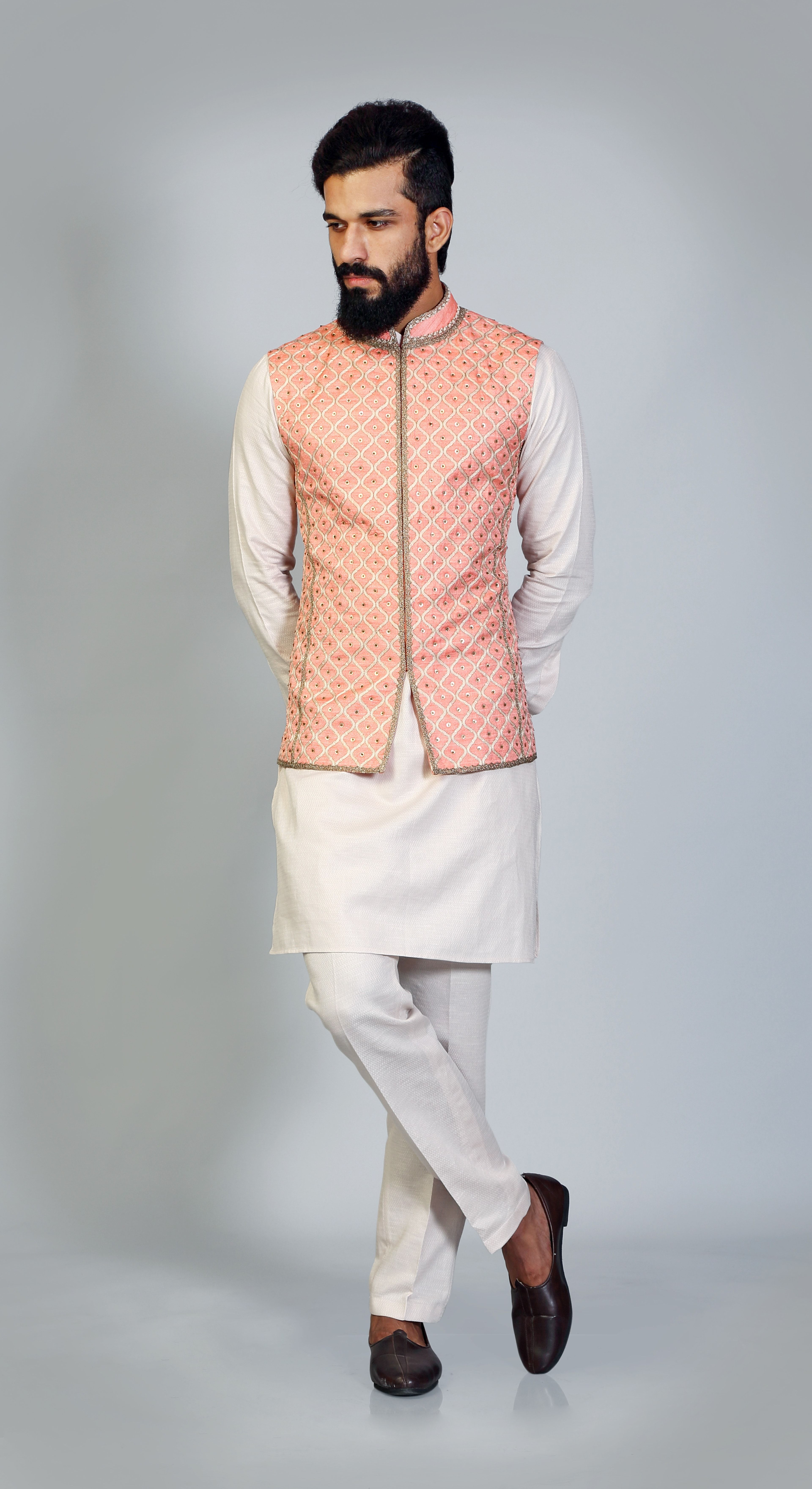 Orange Jharokha Resham Embroidery Sadri Ivory Khadi Kurta Aligarhi Payjama Simple Elegant Ma Indian Men Fashion Indian Groom Wear Wedding Dress Men [ 7040 x 3840 Pixel ]