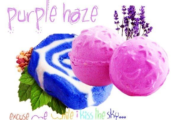 Purple Haze bath cocktail. Blue Skies & Fluffy White Clouds and Twilight