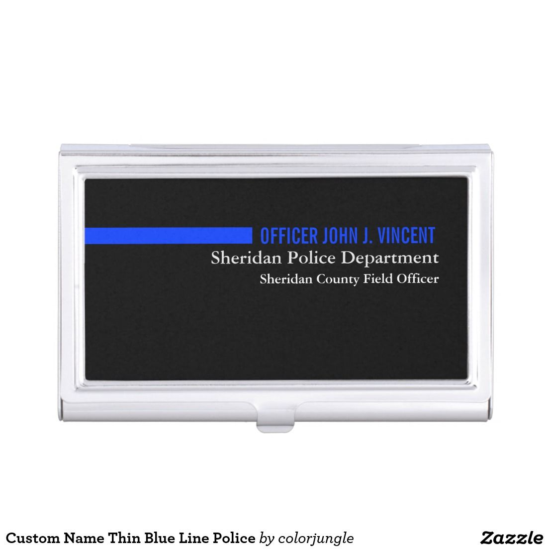 Custom Name Thin Blue Line Police Business Card Holder | Business ...