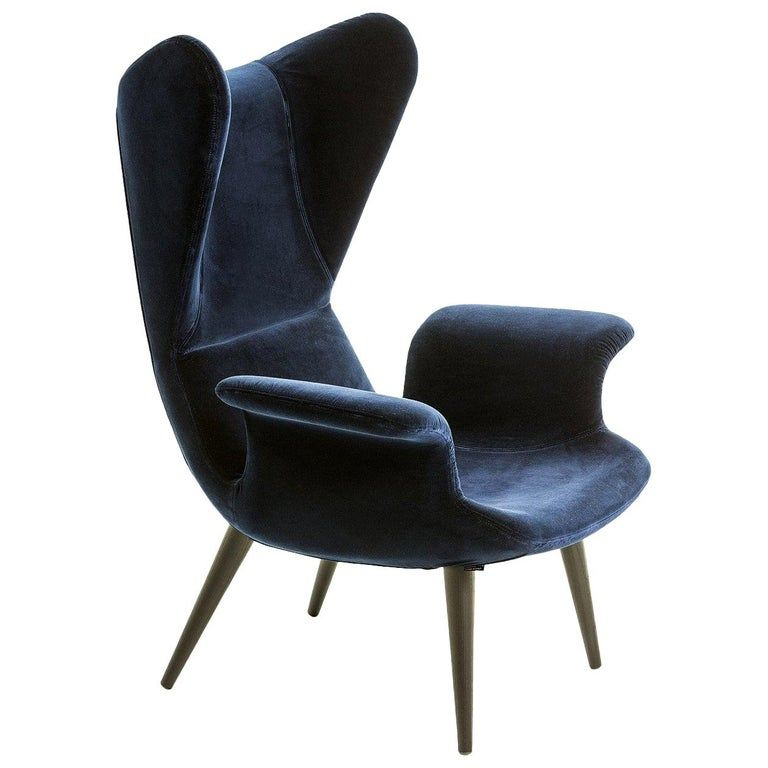 Longwave Fabric Or Leather High Back Armchair By Moroso For
