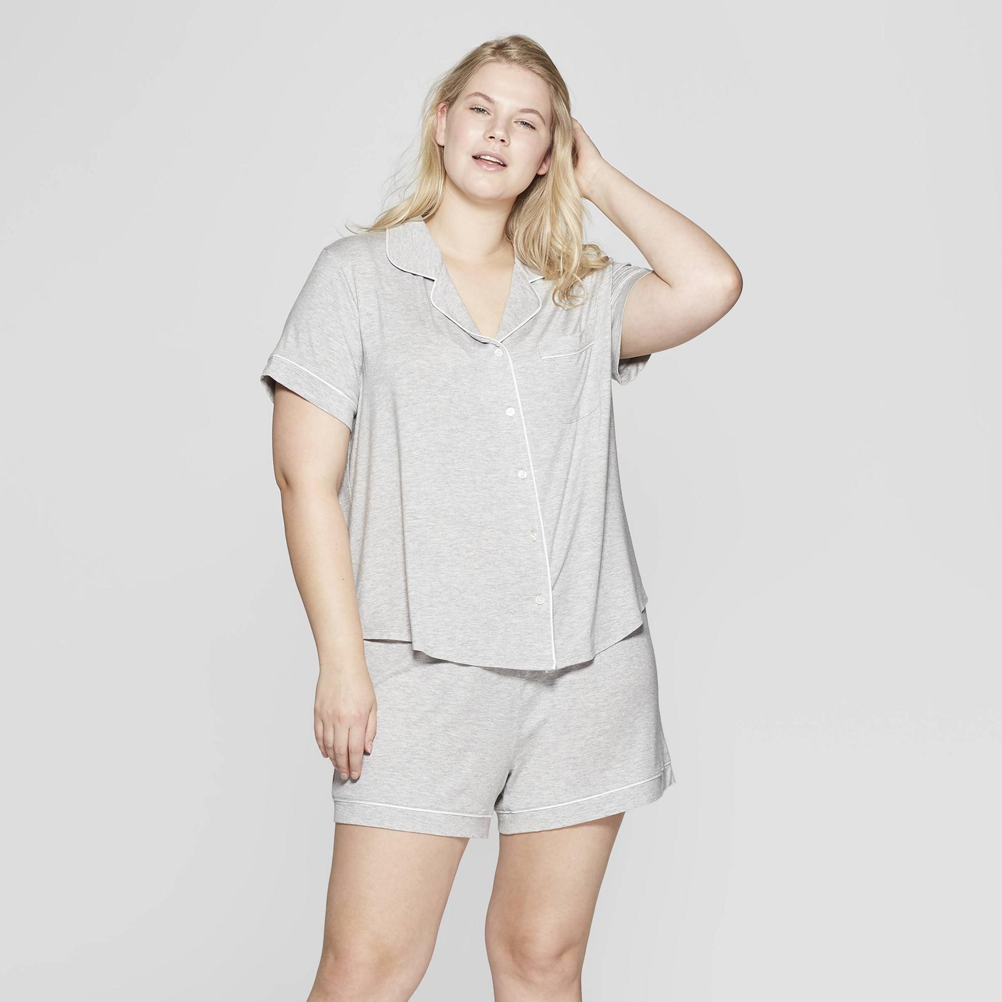 Jenni Soft Knit Pajama Romper Size XL  Gray//White Stars