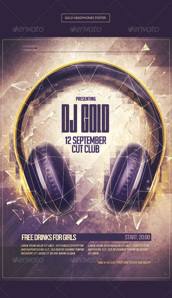Gold Headphones Party Poster Template PSD Buy and Download   - best of invitation template psd file