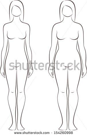 Blank Paper Doll Template Vector illustration of female figure - blank fashion design templates