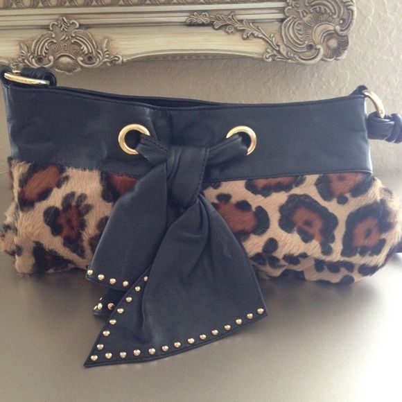 Paolo Masi Bag Black Leather Leopard Print Fur Satchel Made In Italy Bags Satchels