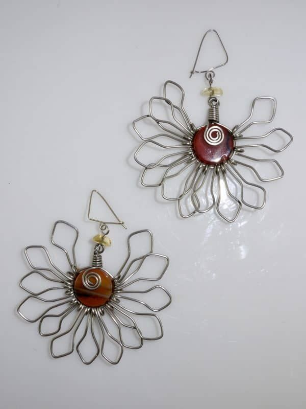 Wire Wrapped Stone Radiate Earrings in Silver / Copper