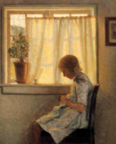 Karl harald alfred broge 1870 1955 danish a young girl sewing immagini di ricamatrici e - Mobili danimarca ...