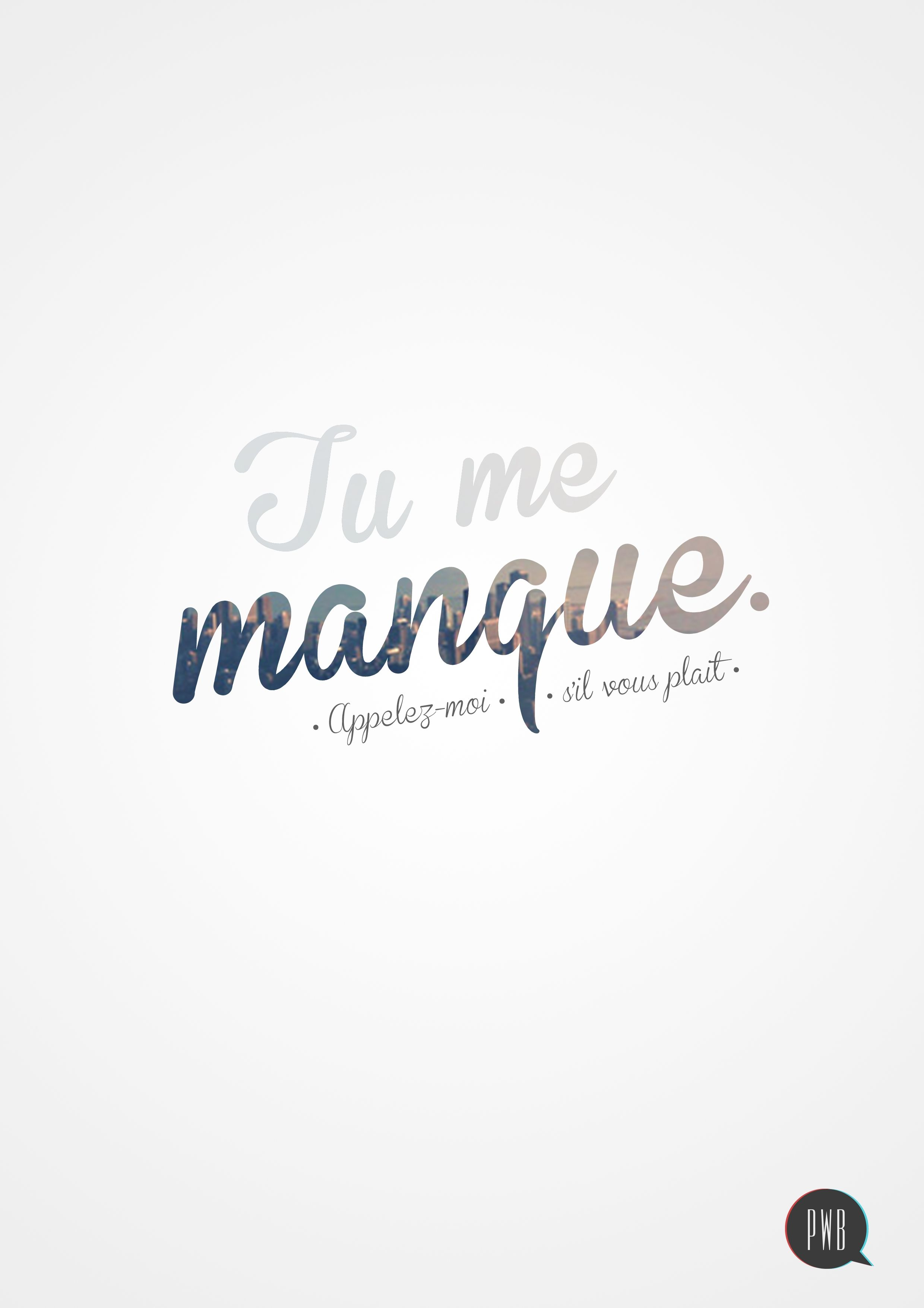 Tu Me Manque Typography Images Graphic Design Typography