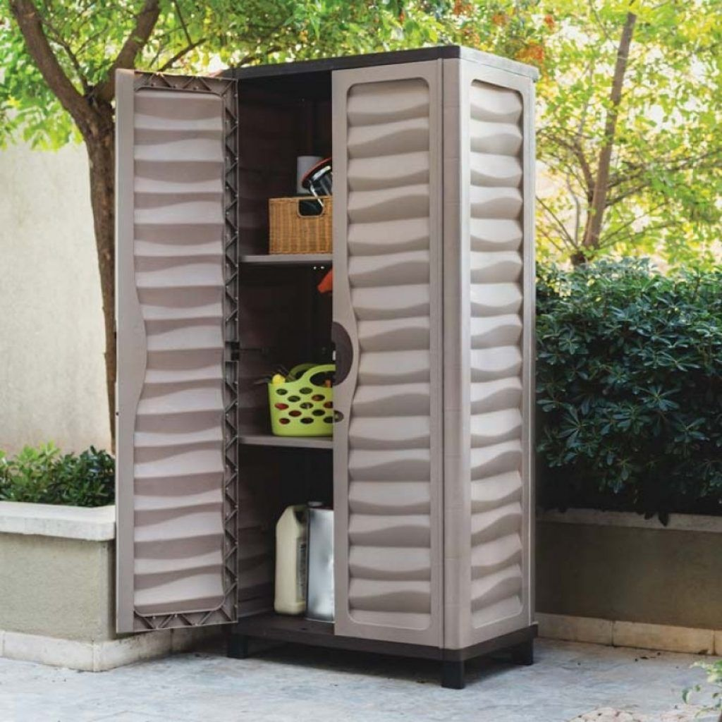 Astonishing Weatherproof Storage Cabinets Plastic With Brown Mocha Paint Color And Two Tier Shelving Unit From Best Outdoor