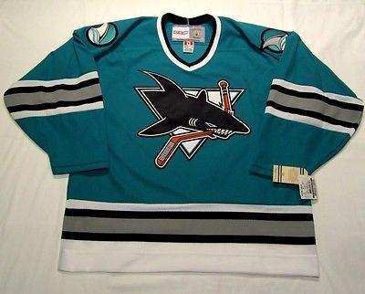 low priced e2457 e68f8 Details about Vintage San Jose Sharks White Blank CCM Men's ...